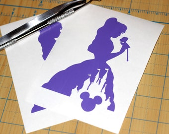 Belle with Rose Sticker | Belle Castle Decal | Beauty and the Beast Sticker