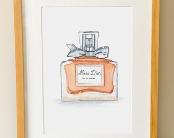 MISS DIOR Perfume - Modern Wall Art - Fashion - Bathroom Decor - Watercolor Print