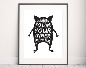 Monster Print, Nursery Print, Little Monster Art, Nursery Quote Print, Nursery Printable Art, Nursery Wall Art, Children Print, Kids Print