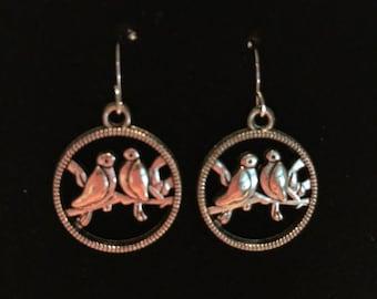 Silver Lovebird Hoop French Ear Hook Earrings