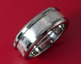 Authenticated Meteorite Inlaid Titanium Ring (With Rhodium Plating) 8MM with a Tapered edge