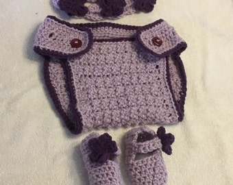 Ready to ship Diaper Cover Headband Bootie Set