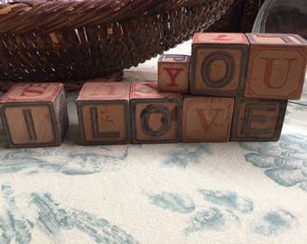 I LOVE YOU in antique alphabet blocks