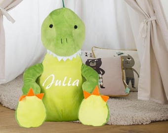 Plush dinosaur custom embroidered with your name personalized gift child