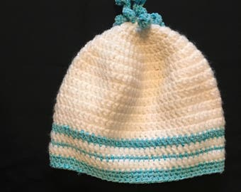 White and Blue Crocheted Hat