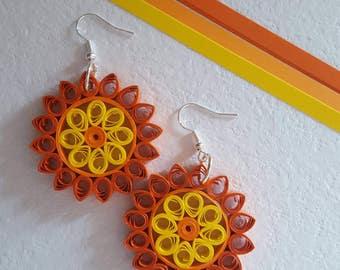 Earrings quilling, mandala Sun