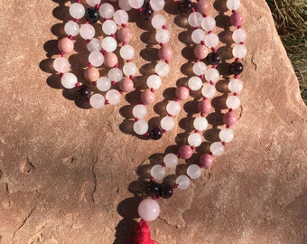 "Natural Gemstone 108 Bead 8mm Mala / Prayer Beads / Necklace -""Love"" Rose Quartz, Rhodonite, Garnet"