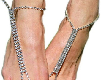 Pair of Column Diamante Barefoot Sandal Anklets BJ6010i
