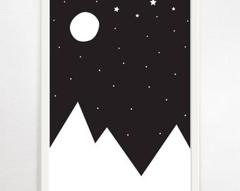 Mountains, Monochrome Nursery, Monochrome Print, Monochrome Decor, Nursery Print, Nursery Wall Art, Childrens Print, Nursery Decor, Wall Art