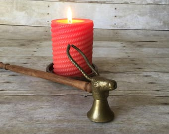 Vintage Brass Deer Head Candle Snuffer with Wood Handle