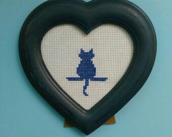 "Blue cat silhouette in blue heart frame. 3.5"""