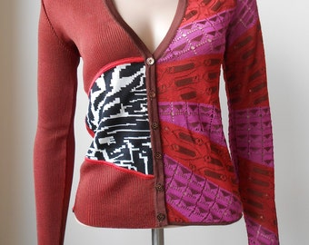 Christian Lacroix : red viscose cardigan, size S/M, vintage 90s
