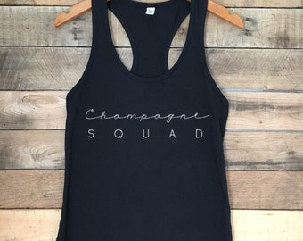 Champagne Squad Tank, Brunch Shirt, Brunch and Bubbly, Funny Tshirt, Champagne Top, Tank with Funny Sayings, Funny Wine Tank Top