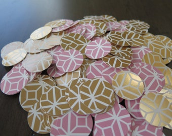 Pink and Gold Geometric Print Confetti | Party | Birthday | Shower | Wedding | Anniversary | Decoration | Ready to Ship