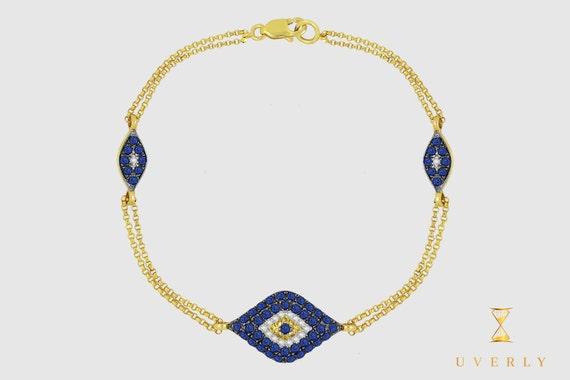 14k Solid Yellow White Rose Gold Diamond Evil Eye Women's Bracelet