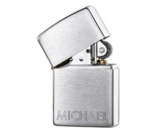 Original Zippo Lighter - Beautifully Engraved - Personalised With Name - Chrome Brushed Lighter - Gifts for Men - Christmas Gift