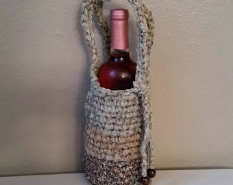 Crochet fabric wine carrier/bag in brown and greens - 004