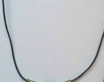 Green/Brown Beaded Leather Necklace