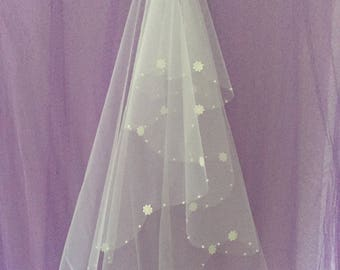 JANINE -  Fingertip Length Ivory Wedding Bridal Veil