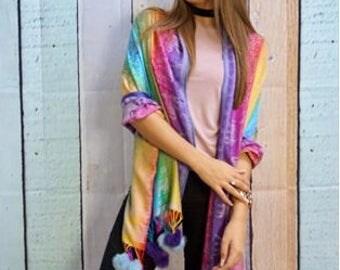 Multi coloured cashmere pashmina scarf with faux balls