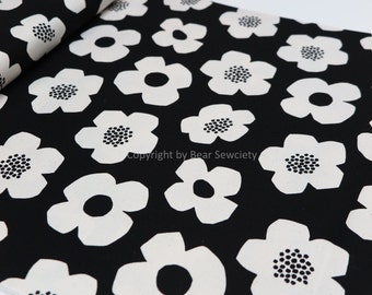 Black and white flower fabric, Kokka fabric by metre - 50 cm