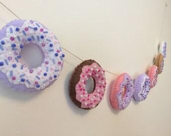 Beaded felt donut garland banner for wall / tea party / nursery / kids room / babyshower