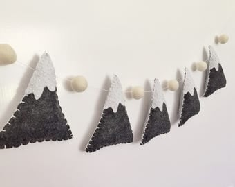 Beaded Felt Mountain Garland / Bunting for wall decor / nursery / woodland theme