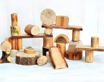 Natural set of 27 wood building blocks, Wooden personalized toy, Wooden blocks, Wood waldorf and montessori inspired toy, Kids boy girl gift