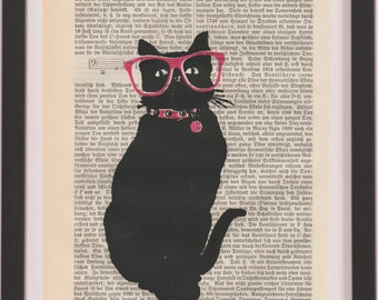 dictinary art print - Cat in Glasses, funny Cat Art Print, cat dictionary art print, screen print on page, gift for cat owner, hipster cat