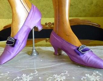 1912 Evening Shoes, Antique Shoes, Antique Pumps, Edwardian Shoes, Purple Silk, ca. 1912