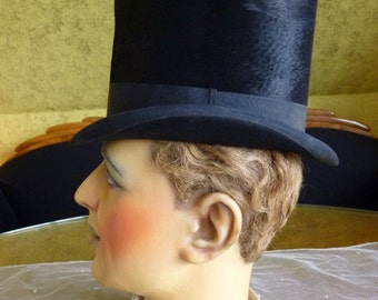 1870 Victorian Top Hat, antiker Zylinder, antique Hat