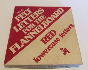 Vintage Red Felt Lowercase Letters For Flannel Board