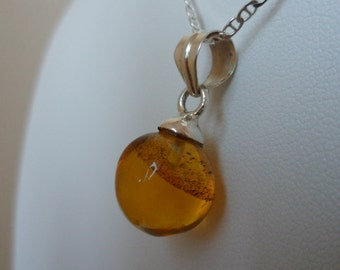 Authentic Dominican Amber Circular Sphere Pendant Necklace in 925 Silver