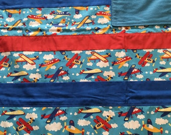 Awesome airplane receiving blanket **FREE SHIPPING **