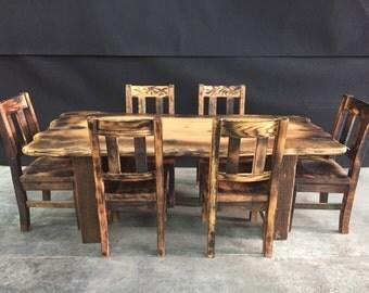 Salvaged Oak Slab Kitchen Table