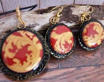 Handmade polymer clay shimmering red and gold pendant and earring set