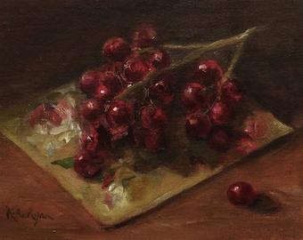 Red Grapes Original Fruit Oil Painting
