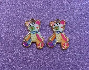 2 Very Cute colourful Enamel goldtone teddy charms