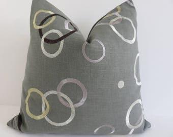 Grey  Silver Black Gold Decorative Pillow Cover- Grey Pillow Covers- Embroidered Silver Gold Black Pillows- Linen Grye Pillows