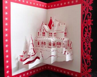 Pop-Up Card, Pop Up Card, 3D Card, Greeting Card, Kirigami Card, Origami Card, Christmas Scene Card, Holiday Santa Reindeer Snowman Pop Up
