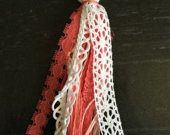 Keychain- pink and white lace and thread