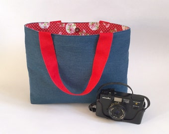 Denim Tote Bag - Retro Bag, Handmade Tote, Magnetic Closure, Gift for Her, Christmas Present for Her, LoadedBobbins