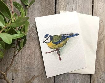 Watercolor Bue-Yellow Bird Postcard Set of 3