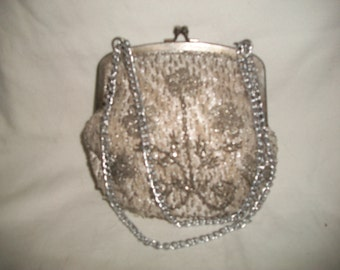 Vintage La Regale Ltd. Hand Made, Beaded, Silver and Gold Evening Bag