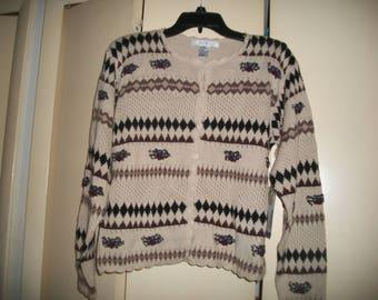 Vintage Tan, Black Cotton Fairisle Cardigan Size M, NWT