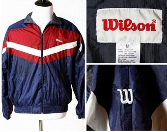 Vintage Men's Windbreaker - 80's Wilson Retro M Medium Jacket