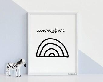 Black White Nursery Art Print, Black White Baby Art, STUDIOM,Monochrome Nursery Art, RAINBOW Printable Wall Art, Instant Download, Digital