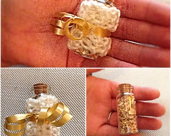 Birdseed Glass Vials/ Eco-Friendly Wedding Favor/ Knit Glass Vial