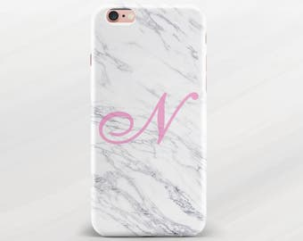 White Marble Case Personalised Monogram Case Custom Cover Name Initial Case for iPhone 6 iPhone 6s iPhone 6 Plus iPhone 7 iPhone 7 Plus