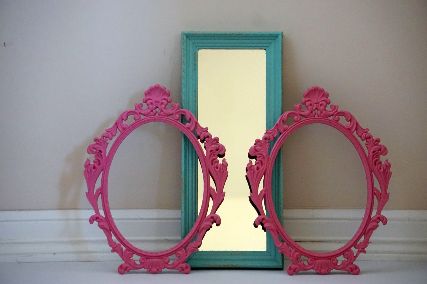 Mint Green And Pink Refurbished Gallery Frames And Mirror
